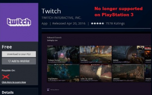 Petition Fix the PS3 Twitch TV app