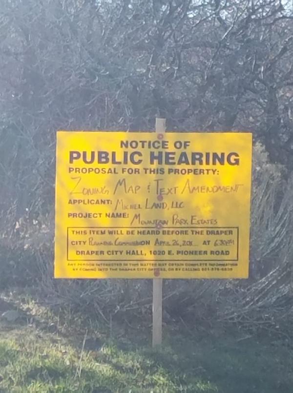 Suncrest citizen concerns about Mountain Park Estates proposal